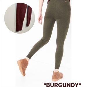 ROOTS CABIN Burgundy Thick High Waist Leggings